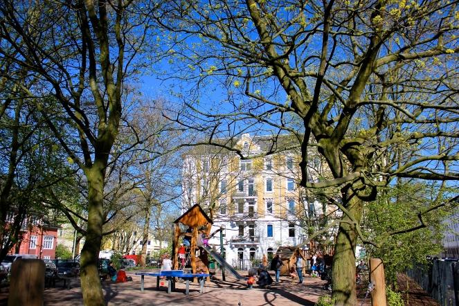 My ride home - Gus and Ollie, Hamburg, germany, handmade, sock monkey, atelier e-37, ottensen, altona, spring time, blossom trees, grateful, sunshine, blue skies.