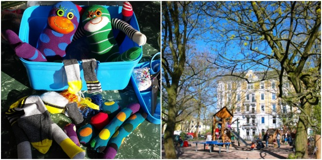 My ride home - Gus and Ollie, Hamburg, germany, handmade, sock monkey, atelier e-37, ottensen, altona, spring time, blossom trees, grateful, sunshine, blue skies.
